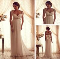Elegant V Neck Anna Campbell Wedding Dresses Cap Sleeve 2014 Women Bridal Gowns Open Back vestido de noiva