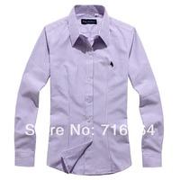 2890 S-XXXL spring 2014 fashion women's 100% cotton  long-sleeve slim shirt  work wear female shirt stripe and solid 6 collor
