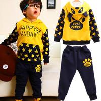 2014 spring grls boys suit t shirt+pants 2pcs set's letter star panda suit for children cotton terry long sleeved suit children