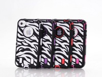 20pcs/lot Freeshipping heavy duty robot hybrid cover silicone zebra print shockproof case for iPhone 4 4s,with screen protector