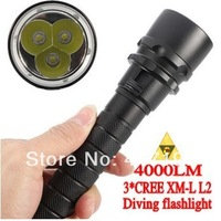 Cost price ! New 2014 Trustfire 3 x L2Cree 4000 lumen (lm) lights ,for underwater diving ,scuba led flashlight torch freeshiping
