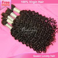 AAAAAA top quality brazilian virgin curly braiding human hair bulk best sale queen hair products real cheap hair extension 3pcs
