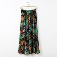 New Arrival Women's Spring Summer Hawaii Printed Casual Chiffon Skirt,  Solid Popular Quality Medium Long Skirt