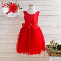 Flower girl dresses / princess dress costume /100% cotton princess dress/ red one-piece dress /kids evening gowns