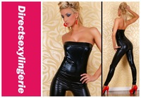 SEXY GOGO Black Fashion Clubwear Leather Lingerie Fashionable Jumpsuit LC9082 Free Shipping