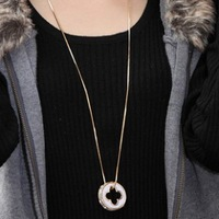 Fashion wild sweet clover full of cubic zircon long pendant necklace  sweater chain for women Made with alloy