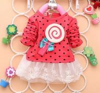 Retail a pc new 2014 spring Baby girls white gauze skirt  long sleeve cotton dress  lollipop dress baby wear DS011