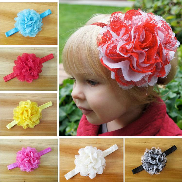 2014 Hot baby flower hair accessories children headband flowers head flower + stretch mesh gauze ribbon 30pcs/lot(China (Mainland))