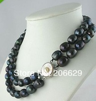 2 ROW RARE TAHITIAN 10-12mm black baroque PEARL NECKLACE