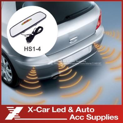 LCD Car Parking sensor & Rearview Mirror 4 Parking Sensors Car Backup Reverse Radar Rearview Mirror parking sensor system HS1-4(China (Mainland))