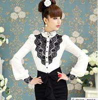 blusas em renda Spring inlaid black and white color patchwork collar women blouses Puff Sleeve female shirt Camisas Chifon