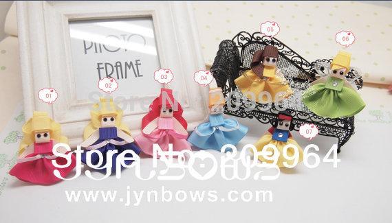 Princess Hair Clip Collection, Hair bow, Hairbow, Hairclip, Hair accessory-7pcs/set Ribbon Scultpture(China (Mainland))