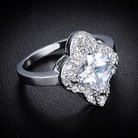 2014 New Design Fashion Rhombus Crystal Ring, Engagement Ring, Platinum Plated Ring Free Shipping