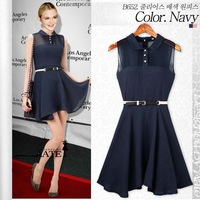 2014 version of women's fashion European style solid color small lapel stitching chiffon sleeveless vest skirt dress