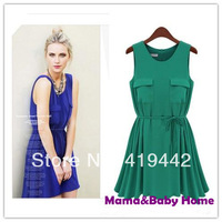 New 2014 Fashion double pocket sleeveless o-neck all-match elegant ruffle dress chiffon one-piece casual girl dress