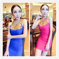 2014 new spring summer fashion woman Sexy elegant metal halter-neck beaded slim one-piece dress  free shipping