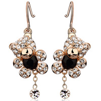 Accessories crystal bear earrings female all-match fashion earring new year gift