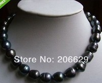 "NEW 11-14MM NATURAL TAHITIAN BLACK BAROQUE PEARL NECKLACE 18""14K"