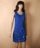 2014 women dresses fashion beautiful Paillette embroidery sexy knee length summer women dress dropship