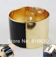 (MIN.ORDER $9.9)2014 NEW Gold Black Enemal Cuff Bangle Bracelet Christmas Gift Wholesale Jewelry