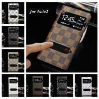 Ultrathin Luxury View Window PU Leather Smart Case For Samsung Galaxy Note2 N7100 With Chip