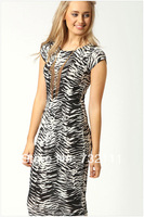 New Spring Fashion Women's Sexy Brief Vintage Casual Sleeveless Round Collar  Over-the-knee Zebra Print Dress Prom Dress ZD-0044