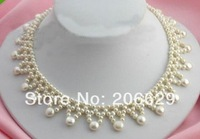 HOT fashion natural coin style south sea white pearl necklace 14k