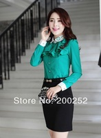 Hot Sale !!! Women's Fashion Shirts Chiffon Turn-down Collar Ruffles Women Top Blouses Clothing S M L XL  Free Shipping