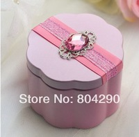 2014 DIY ribbon fashion flower-like wedding favor tin boxes