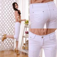 free shipping!2014The new hole fashion Pants denim pant leg stretch pants Slim Pencil pants