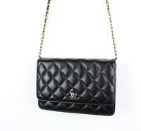 2013 fashion mini bags black genuine leather sheepskin one shoulder cross-body plaid chain woc women's handbag 33814
