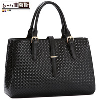 Fashion fashion women's handbag genuine leather women's handbag messenger bag big bag knitted women's cowhide handbag one