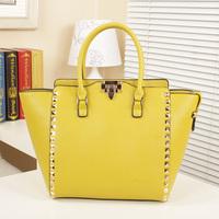 Fashion genuine leather handbag women's 2014 women's fashion handbag women's rivet one shoulder bag handbag