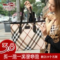 Fashion fashion women's handbag women's bags female shoulder bag cowhide female brief women's plaid genuine leather handbag 2014