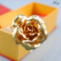 24k Dipped Gold Rose Foil Flowers for Lovers - Rose-open (8 Inches) Ornament in gift box