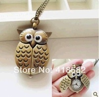 NHB009--Hot fashion watch necklace Alloy Bird Wing Workable Pocket Watch free shipping