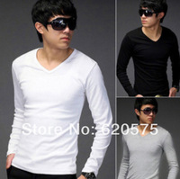 Fashion Handsome Boy T-Shirt  in Solid Color Long Sleeves and V-neck Men T Shirt for 2014 Summer Blanked Casual Clothes