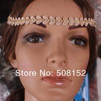 NEWS wholesale The leaves take bright  shape, women headband, hair accessories, gold hairband 6pcs/lot