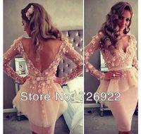 Elegant Appliqued Champagne Short Celebrity Evening Dresses 2014 New Arrival Cocktail Dress Customize Free Shipping