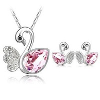 Free Shipping Gorgeous White Gold Plated Swan Necklace/Earrings, Make With AU Cryatal ,Crystal Set