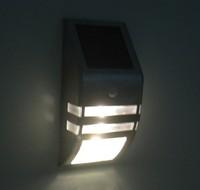 Free Shipping  10pcs/lot New Design Solar Power Motion Sensor Super Bright LED Stainless Steel Light Garden Wall PIR Lamp