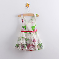 6pcs/lot wholesale High,2013 New Summer baby girl floral dress,white flower strap dress,cake dress,lace,high quality kids clothe