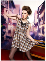 Fashion Dresses European Version Summer Fashion Women's Plaid Sleeveless Vest free shipping