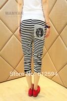 New women striped harem pants female tiger print sweatpants capris color block pocket deco spring summer thin sexy street party