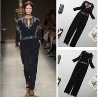 2014 summer fashion runway Celebrity  jumpsuit brand vintage black embroidery design trousers elegant silk Jumpsuit for woman