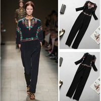 2014 summer fashion runway Celebrity  jumpsuit brand vintage black embroidery design trousers elegant silk Jumpsuit for woman