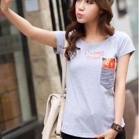 Spring 2014 women's cartoon pocket o-neck cotton 100% young girl short-sleeve T-shirt