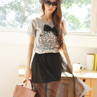 2014 summer new arrival skull rhinestones bow gauze short sleeve length one-piece dress female