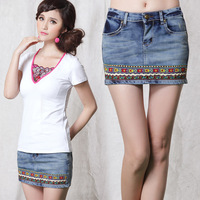 Spring national 2014 trend embroidered ribbon all-match female denim short skirt