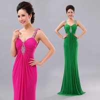 Spaghetti strap deep V-neck racerback slim sexy fish tail long design evening dress long formal dress evening dress